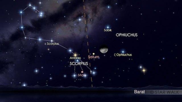 Segitiga Saturnus-Mars-Antares di rasi Scorpius dan pasangan Bulan-Saturnus pada tanggal 13 Agustus 2016 pukul 00:16 WIB. Kredit: Star Walk