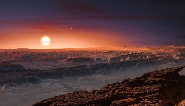 Sebuah planet mirip-Bumi baru telah ditemukan mengitari bintang terdekat dengan Matahari kita. Gambar ini mengilustrasikan permukaan planet baru yang menarik ini. Kredit: ESO/M. Kornmesser.