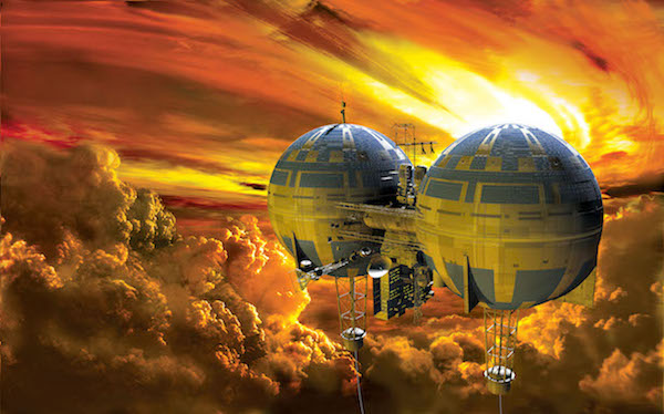 Ilustrasi kota melayang di Venus. Kolonisasi yang dibangun di masa depan. Kredit: Adrian Mann