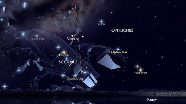 Pasangan planet Venus dan Saturnus di rasi Ophiuchus tanggal 30 Oktober 2016 pukul 19:00 WIB. Kredit: Star Walk