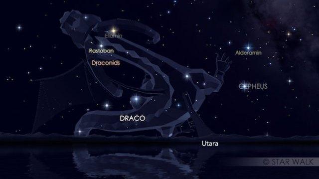 Hujan meteor Draconid. Kredit: Star Walk