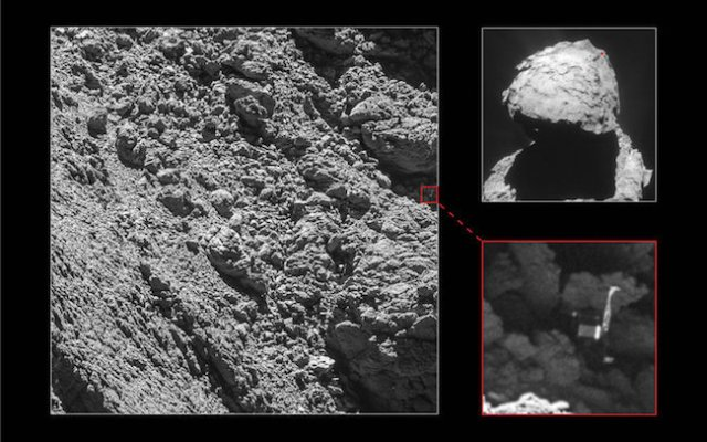 Kamera OSIRIS pada Rosetta berhasil memotret keberadaan pendarat Philae. Kredit: ESA/Rosetta/MPS