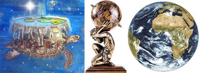 Kiri: Mitos Bumi di punggung kura-kura. Tengah: Bumi di punggung Dewa Atlas. Kanan: Bumi dari luar angkasa. Kredit: ESA