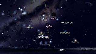 Bulan- Saturnus - Venus tanggal 3 November 2016 pukul 18:49 WIB. Kredit: Star Walk