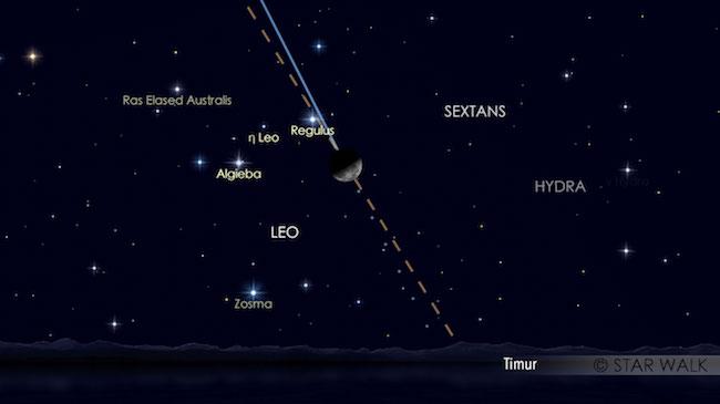 Bulan dan Regulus tampak berpasangan pada tanggal 21 November pukul 01:38 WIB. Kredit: Star Walk