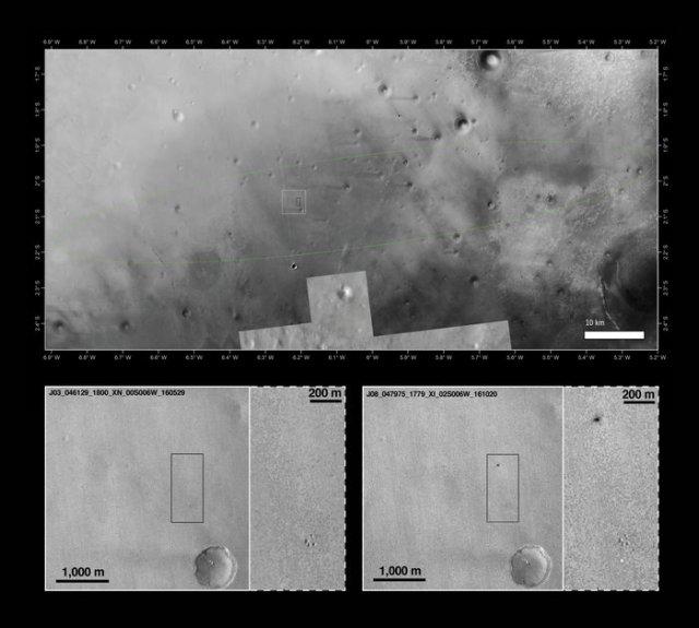 Foto lokasi Schiaparelli yang dipotret Mars Reconnaissance Orbiter (MRO). Kredit: NASA/JPL-Caltech/MSSS