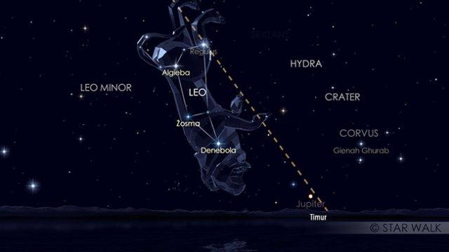 Hujan Meteor Leonid 18 November 2016 pukul 03:00 WIB. Tampak Jupiter juga baru terbit. Kredit: Star Walk