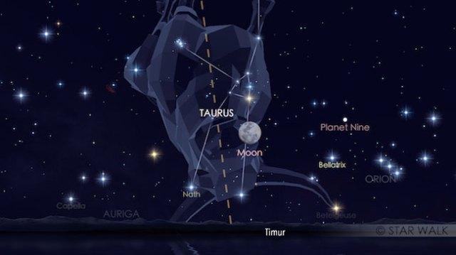 Bulan dan Aldebaran yang berpasangan pada tanggal 13 Desember 2016 pukul 18:32 WIB. Kredit: Star Walk
