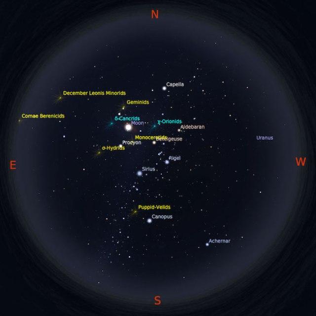 Peta bintang 15 Desember 2016 pukul 23:59 WIB. Kredit: Stellarium