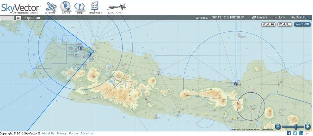 Gambar 6 Peta VFR wilayah sekitar Jawa. Kredit: skyvector.com