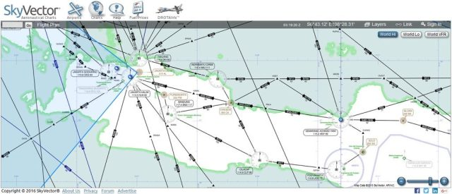 Gambar 7 Peta IFR wilayah sekitar Jawa. Kredit: skyvector.com