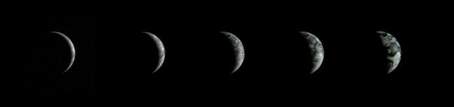 Bumi dari fase Bumi Baru sampai fase kuartir pertama pada tanggal 20-24 Desember 2013, yang dipotret Chang'e 3. Kredit: Chinese Academy of Sciences