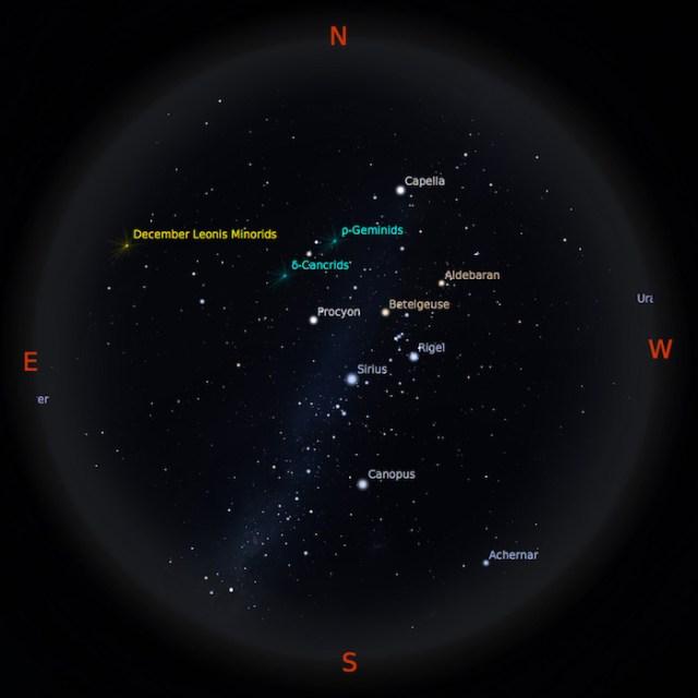 Peta Bintang 1 Januari 2017 pukul 23:59 WIB. Kredit: Stellarium