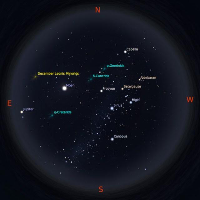 Peta Bintang 15 Januari 2017 pukul 23:59 WIB. Kredit: Stellarium