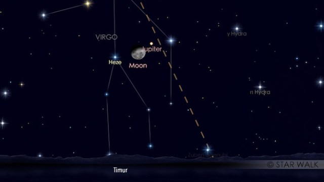 Hasil gambar untuk Konjungsi Bulan dan Jupiter tanggal 15 Februari 2017 pukul 23:00 WIB