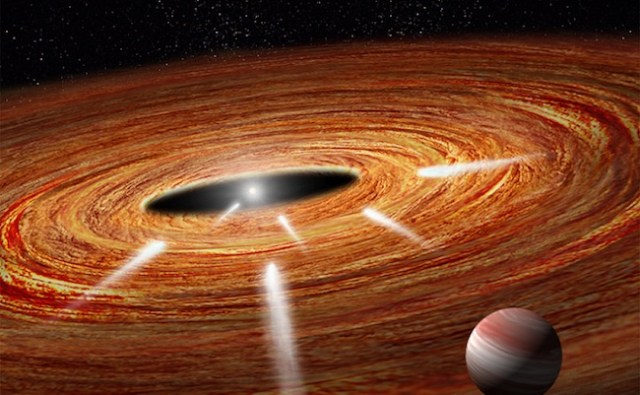 Exokomet yang melintasi piringan gas dan debu pada bintang muda HD 172555. Kredit: NASA, ESA dan A. Feild & G. Bacon (STScI)