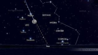 Pasangan Bulan dan Regulus, pada tanggal 11 Maret 2017 pukul 19:00 WIB. Kredit: Star Walk