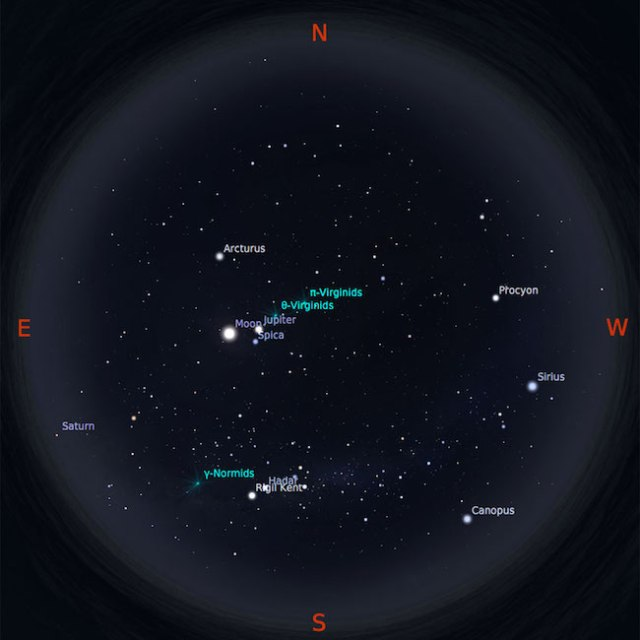 Peta bintang 15 Maret 2017 pukul 23:59 WIB. Kredit: Stellarium