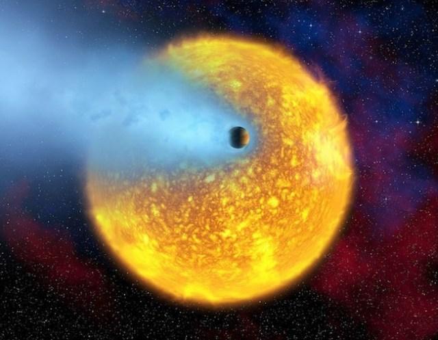 Ilustrasi planet dengan atmosfer hidrogen. Kredit: Alfred Vidal-Madjar/ESA/NASA/Getty Images