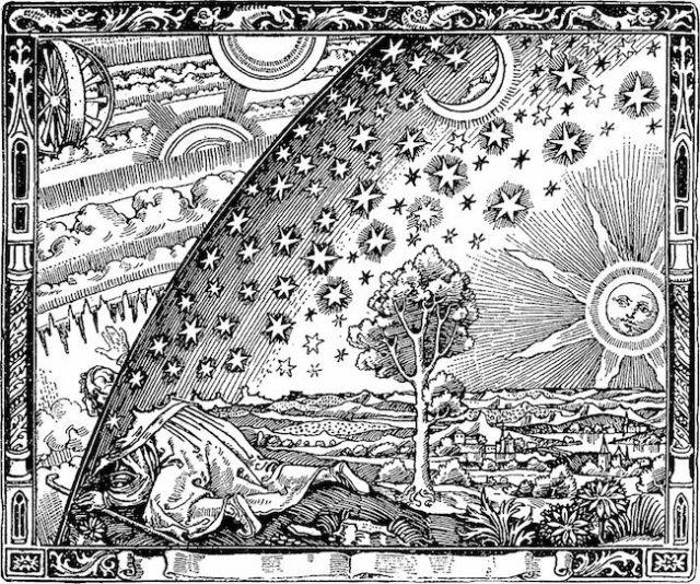Ukiran kayu Flammarion Engraving tahun 1888 yang memperlihatkan seorang misionaris menemukan titik temu Bumi dan Surga. Ukiran ini pertama kali muncul dalam Camille Flammarion's L'atmosphère: météorologie populaire. Kredit: Anonim. Sumber : Wikipedia
