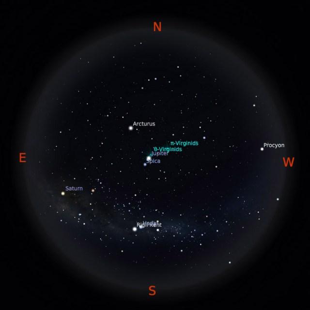 Peta bintang 1 April 2017 pukul 23:59 WIB. Kredit: Stellarium