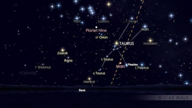 Pasangan Mars dan Pleiades 21 April 2017 pukul 18:30 waktu lokal. Kredit: Star Walk