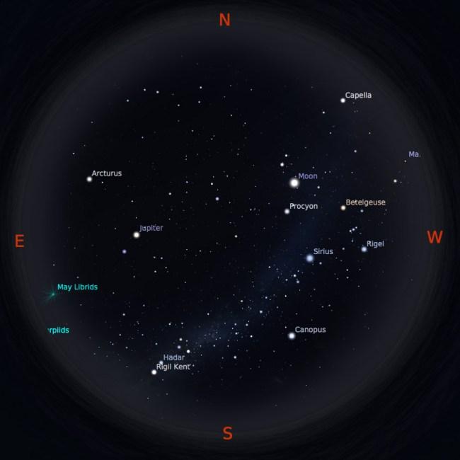 Peta bintang 1 Mei 2017 pukul 19:00 WIB. Kredit: Stellarium