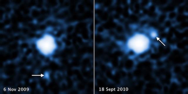 Pengamatan Hubble pada tahun 2009 dan 2010 mengungkap keberadaan satelit di 2007 OR10. Kredit: NASA, ESA, C. Kiss (Konkoly Observatory), dan J. Stansberry (STScI)