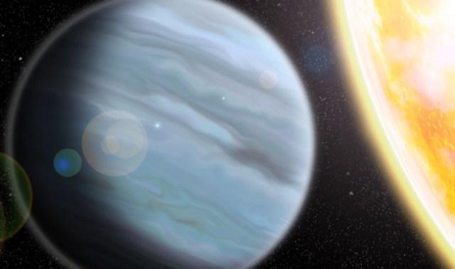 Ilustrasi planet KELT-11b, planet gembung mirip styrofoam, si planet Jupiter panas yang mengembang. Kredit: Walter Robinson/Lehigh University