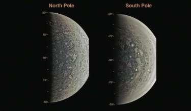 Kutub Utara dan Selatan Jupiter. Kredit: JEP Connerney et al, Science 2017