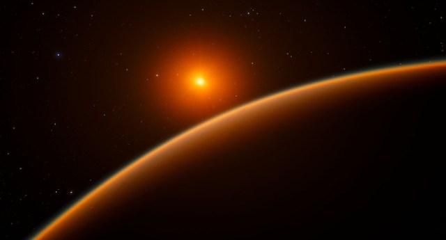 Ilustrasi exoplanet Bumi super LHS 1140b yang mengitari bintang katai merah LHS 1140 di rasi Cetus. Kredit: ESO/spaceengine.org