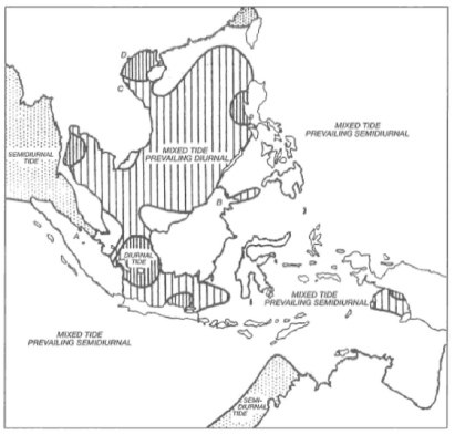 """Tipe-tipe pasang surut yang terjadi di Indonesia, berdasarkan data oleh Wyrtki tahun 1961. Dikutip dari buku """"The Ecology of the Indonesian Seas - Part 1"""" karya Thomas Tomascik dkk."""