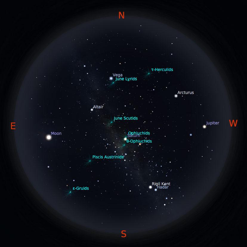 Peta bintang 15 Juni 2017 pukul 23:59 WIB. Kredit: Stellarium