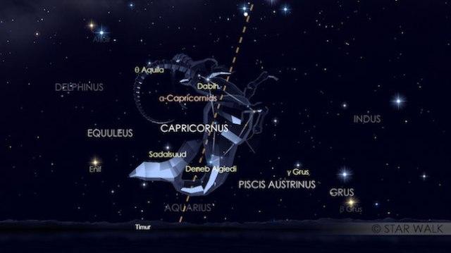 Hujan metoer Alpha Capricornid yang sudah bisa dilihat sejak Matahari terbenam di rasi Capricorn. Ini merupakan simulasi hujan meteor Capricornid tanggal 30 Juli pukul 20:00 WIB. Kredit: Star Walk