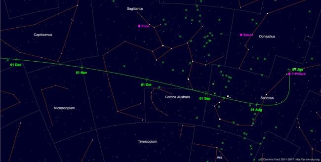 Jejak komet 71P/ Clark dari Juni - Desember 2017. Kredit: Dominic Ford / In-The-Sky.org