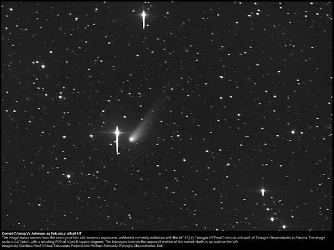 Komet Johnson yang dipotret tanggal 25 Februari 2017 oleh Gianluca Masi dari Virtual Telescope Project dan Michael Schwartz dari Tenagra Observatories di Arizona. Kredit: Virtual Telescope