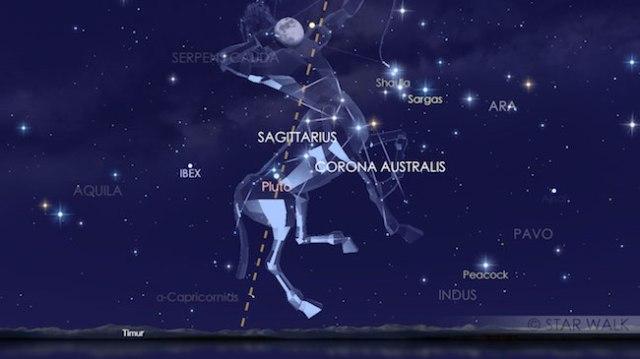Konjungsi Bulan dan Saturnus tanggal 3 Agustus sesaat setelah Matahari terbenam pada pukul 18:00 WIB: Kredit: Star Walk