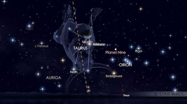 Konjungsi Bulan dan Aldebaran tanggal 16 Agustus 2017 saat diamati pukul 03:00 WIB. Kredit: Star Walk