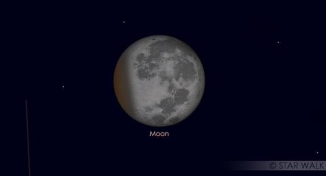 Gerhana Bulan Sebagian saat puncak gerhana tanggal 8 Agustus 2017 pukul 01:22 WIB. Kredit: Star Walk