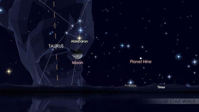 Pasangan Bulan dan Aldebaran, bintang paling terang di Taurus 12 September 2017 pukul 23:59 WIB. Kredit: Star Walk