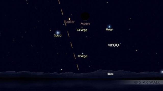 Segitiga Bulan, Jupiter dan Spica tanggal 22 September 2017 pukul 18:30 WIB. Kredit: langitselatan