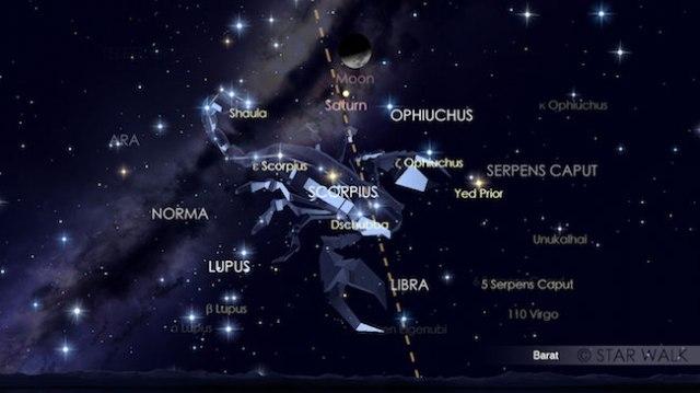 Bulan dan Planet Saturnus berpasangan pada tanggal 27 September 2017. Tampak keduanya sudah di ufuk barat pada pukul 20:00 WIB. Kredit: Star Wlak