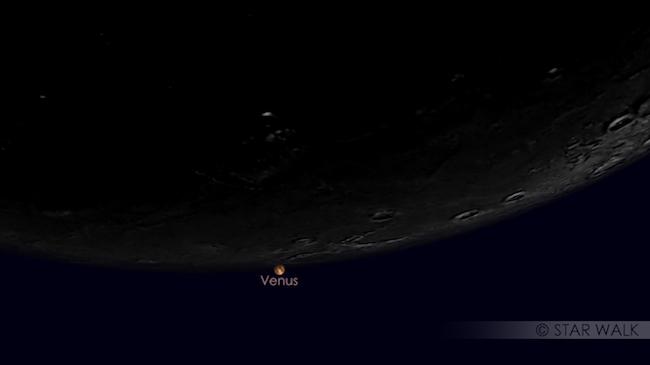 Fenomena Langit Bulan September 2017, Okultasi Venus oleh Bulan. Kredit: Star Walk