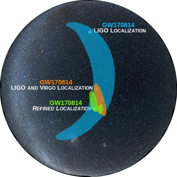 Gelombang Gravitasi GW170814 yang diamati LIGO dan VIRGO. Tampak lokasi yang semakin presisi dengan kehadiran interferometer VIRGO dalam pengamatan ini. Kredit: LIGO