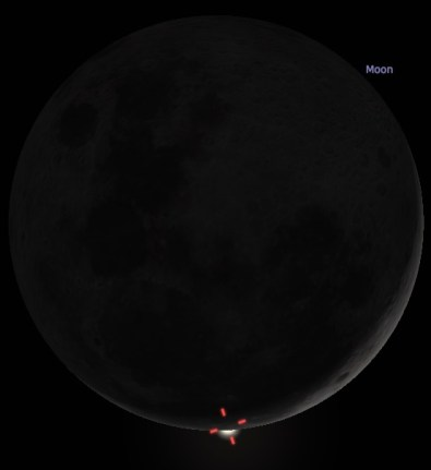 Venus yang menghilang di balik Bulan. Kredit: Stelarium