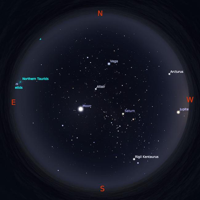 Peta bintang 1 Oktober 2017 pukul 18:30 WIB. Kredit: Stellarium
