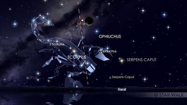 Pasangan Bulan dan planet Saturnus setelah Matahari terbenam tgl 24 OKtober 2017 pukul 19:00 WIB. Kredit: Star Walk
