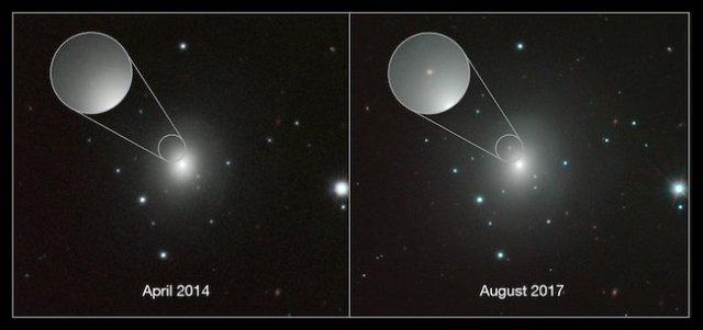 Galaksi NGC 4993 ketika belum ada kilonova (2014) dan setelah ada kilonova (2017). Kredit: ESO/N.R. Tanvir, A.J. Levan dan kolaborasi VIN-ROUGE.