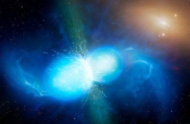 Ilustrasi tabrakan bintang neutron. Kredit: University of Warwick/Mark Garlick