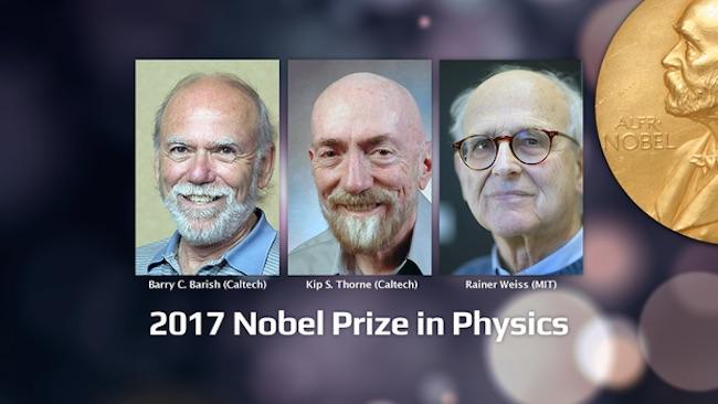 Ki-ka: Barry Barish, Kip Thorne dan Rainer Weiss. Peraih Hadiah Nobel Fisika 2017 untuk kontribusi pada Detektor LIGO. Kredit: LIGO